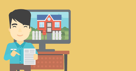 photo real: Asian man standing in front of tv screen with house photo on it and pointing at a real estate contract. Concept of signing of real estate contract. Vector flat design illustration. Horizontal layout.