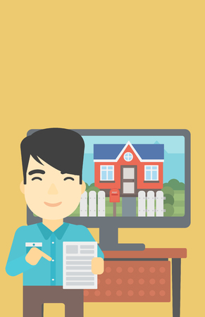 photo real: An asian man standing in front of tv screen with house photo on it and pointing at a real estate contract. Concept of signing of real estate contract. Vector flat design illustration. Vertical layout. Illustration