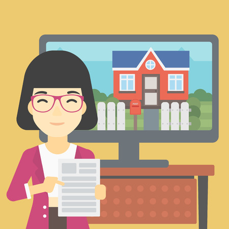 photo real: An asian woman standing in front of tv screen with house photo on it and pointing at a real estate contract. Concept of signing of real estate contract. Vector flat design illustration. Square layout. Illustration