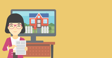 photo real: Asian woman standing in front of tv screen with house photo on it and pointing at real estate contract. Concept of signing of real estate contract. Vector flat design illustration. Horizontal layout.