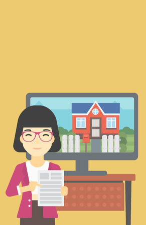 photo real: Asian woman standing in front of tv screen with house photo on it and pointing at a real estate contract. Concept of signing of real estate contract. Vector flat design illustration. Vertical layout.