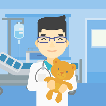 pediatrician: Young asian male pediatrician doctor holding a teddy bear. Professional pediatrician doctor with a teddy bear in the hospital room. Vector flat design illustration. Square layout.