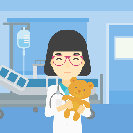 pediatrist: Young asian female pediatrician doctor holding a teddy bear. Professional pediatrician doctor with a teddy bear in the hospital room. Vector flat design illustration. Square layout.