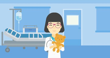 hospital ward: Young asian female pediatrician doctor holding a teddy bear. Professional pediatrician doctor with a teddy bear in the hospital room. Vector flat design illustration. Horizontal layout.