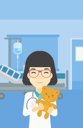 pediatrician: Young asian female pediatrician doctor holding a teddy bear. Professional pediatrician doctor with a teddy bear in the hospital room. Vector flat design illustration. Vertical layout. Illustration