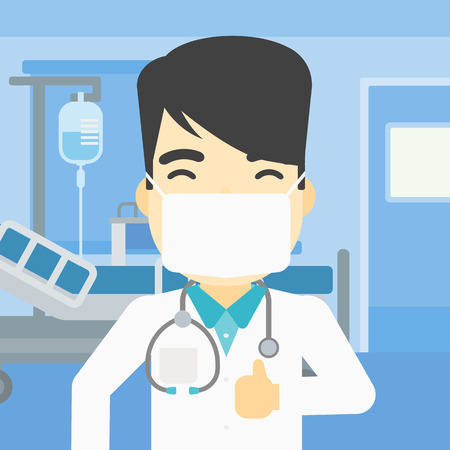 protective gown: An asian doctor in mask giving thumbs up. Happy doctor with thumbs up in the hospital room. Doctor showing thumbs up gesture. Vector flat design illustration. Square layout.
