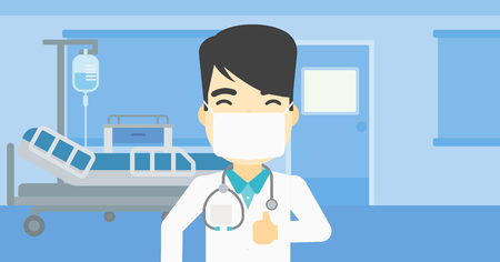 protective gown: An asian doctor in mask giving thumbs up. Happy doctor with thumbs up in the hospital room. Doctor showing thumbs up gesture. Vector flat design illustration. Horizontal layout.