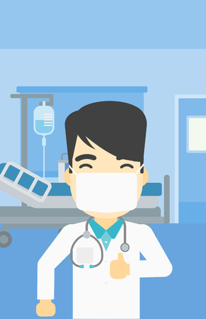 protective gown: An asian doctor in mask giving thumbs up. Happy doctor with thumbs up in the hospital room. Doctor showing thumbs up gesture. Vector flat design illustration. Vertical layout.