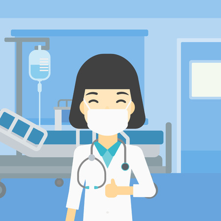 protective gown: An asian female doctor in mask giving thumbs up. Happy doctor with thumbs up in the hospital room. Doctor showing thumbs up gesture. Vector flat design illustration. Square layout. Illustration