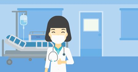 protective gown: An asian female doctor in mask giving thumbs up. Happy doctor with thumbs up in the hospital room. Doctor showing thumbs up gesture. Vector flat design illustration. Horizontal layout.