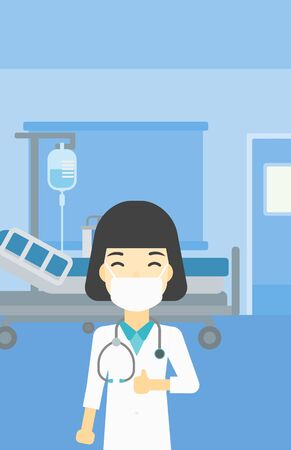 protective gown: An asian female doctor in mask giving thumbs up. Happy doctor with thumbs up in the hospital room. Doctor showing thumbs up gesture. Vector flat design illustration. Vertical layout.