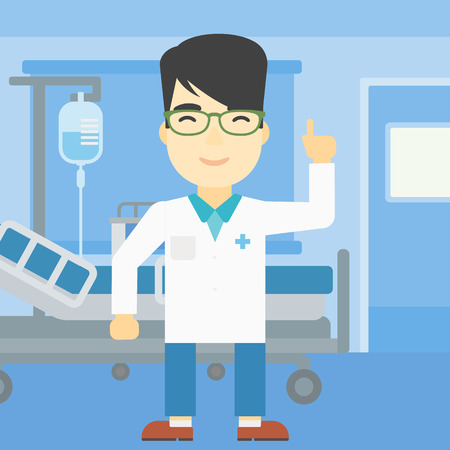 man pointing up: An asian doctor in medical gown showing finger up. Doctor with finger up in the hospital ward. Man in doctor uniform pointing finger up. Vector flat design illustration. Square layout. Illustration