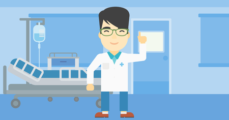 man pointing up: An asian doctor in medical gown showing finger up. Doctor with finger up in the hospital ward. Man in doctor uniform pointing finger up. Vector flat design illustration. Horizontal layout.