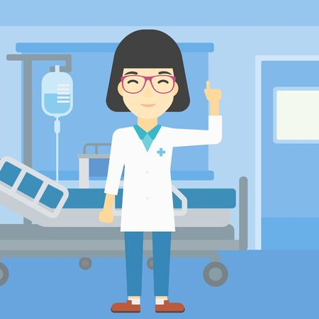 woman pointing up: An asian female doctor in medical gown showing finger up. Doctor with finger up in the hospital ward. Woman in doctor uniform pointing finger up. Vector flat design illustration. Square layout. Illustration