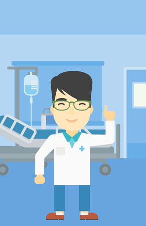 man pointing up: An asian doctor in medical gown showing finger up. Doctor with finger up in the hospital ward. Man in doctor uniform pointing finger up. Vector flat design illustration. Vertical layout.