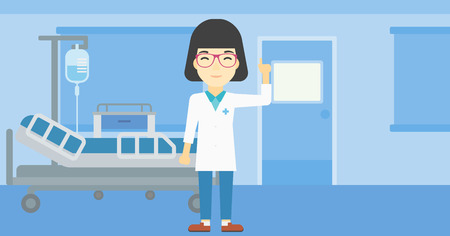 hospital gown: An asian female doctor in medical gown showing finger up. Doctor with finger up in the hospital ward. Woman in doctor uniform pointing finger up. Vector flat design illustration. Horizontal layout.