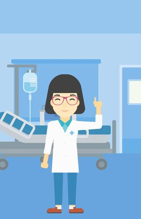 woman pointing up: An asian female doctor in medical gown showing finger up. Doctor with finger up in the hospital ward. Woman in doctor uniform pointing finger up. Vector flat design illustration. Vertical layout. Illustration
