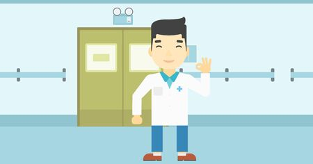 hospital corridor: An asian doctor in medical gown showing ok sign in the hospital corridor. Vector flat design illustration. Horizontal layout.