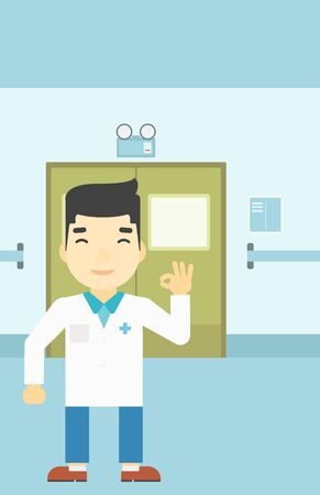 hospital corridor: An asian doctor in medical gown showing ok sign in the hospital corridor. Vector flat design illustration. Vertical layout.