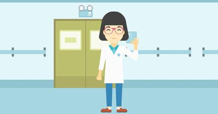 ok sign: An asian female doctor in medical gown showing ok sign. Smiling doctor gesturing ok sign. Doctor with ok sign gesture in the hospital corridor. Vector flat design illustration. Horizontal layout.