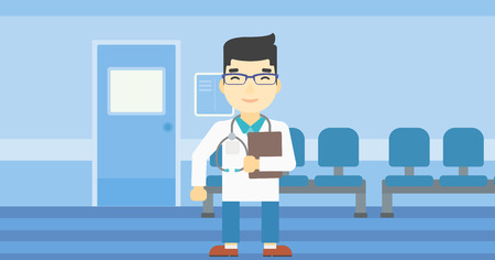 An asian friendly doctor holding a file in hospital corridor. Smiling doctor with stetoscope carrying folder of patient or medical information. Vector flat design illustration. Horizontal layout. Illustration