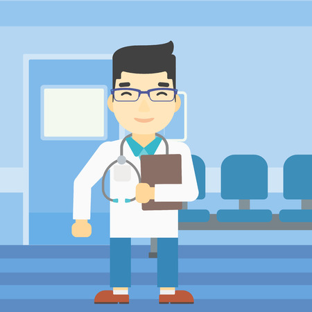 stetoscope: An asian friendly doctor holding a file in hospital corridor. Smiling doctor with stetoscope carrying folder of patient or medical information. Vector flat design illustration. Square layout.