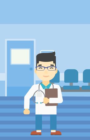 An asian friendly doctor holding a file in hospital corridor. Smiling doctor with stetoscope carrying folder of patient or medical information. Vector flat design illustration. Vertical layout.