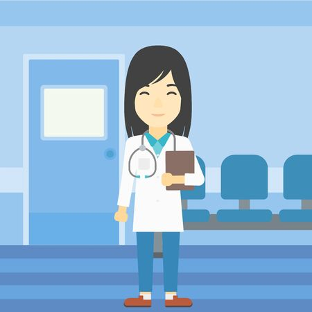 doctor and patient vector: An asian friendly doctor holding a file in hospital corridor. Smiling female doctor with stetoscope carrying folder of patient or medical information. Vector flat design illustration. Square layout.
