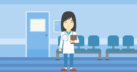 stetoscope: Asian friendly doctor holding a file in hospital corridor. Smiling female doctor with stetoscope carrying folder of patient or medical information. Vector flat design illustration. Horizontal layout.