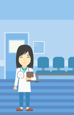 An asian friendly doctor holding a file in hospital corridor. Smiling female doctor with stetoscope carrying folder of patient or medical information. Vector flat design illustration. Vertical layout. Illustration