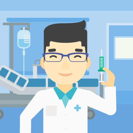 hospital ward: An asian male doctor holding medical injection syringe. Doctor with syringe in hospital ward. Doctor holding a syringe ready for injection. Vector flat design illustration. Square layout.