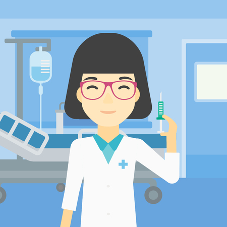 An asian female doctor holding medical injection syringe. Doctor with syringe in hospital ward. Doctor holding a syringe ready for injection. Vector flat design illustration. Square layout. 矢量图像