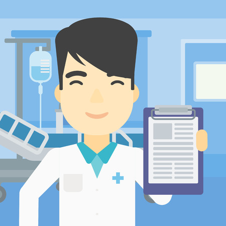 documentation: An asian male doctor showing clipboard with prescription. Doctor holding clipboard on the background of hospital room. Vector flat design illustration. Square layout.