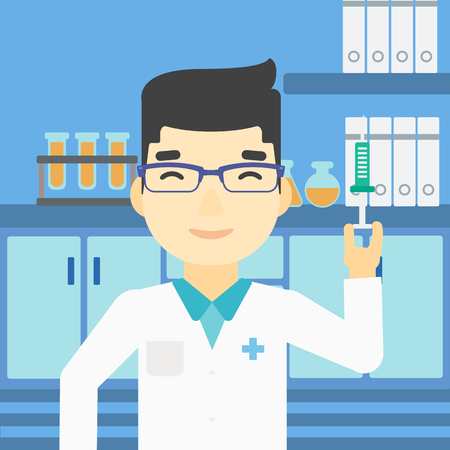 medical test: An asian laboratory assistant holding syringe. Laboratory assistant with syringe in a laboratory. Laboratory assistant making medical test. Vector flat design illustration. Square layout.