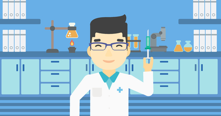 assistant: An asian laboratory assistant holding syringe. Laboratory assistant with syringe in a laboratory. Laboratory assistant making medical test. Vector flat design illustration. Horizontal layout.
