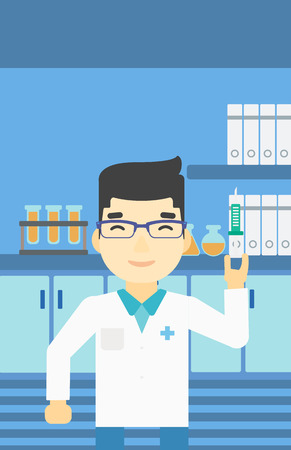 medical assistant: An asian laboratory assistant holding syringe. Laboratory assistant with syringe in a laboratory. Laboratory assistant making medical test. Vector flat design illustration. Vertical layout.