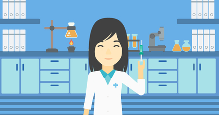 medical assistant: An asian female laboratory assistant holding syringe. Laboratory assistant with syringe in a laboratory. Laboratory assistant making medical test. Vector flat design illustration. Horizontal layout. Illustration