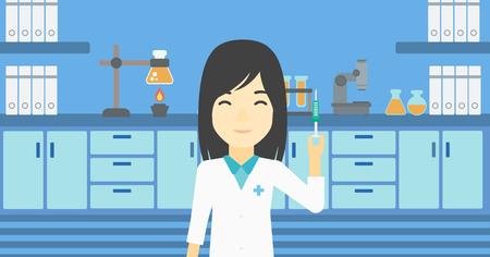 an injector: An asian female laboratory assistant holding syringe. Laboratory assistant with syringe in a laboratory. Laboratory assistant making medical test. Vector flat design illustration. Horizontal layout. Illustration