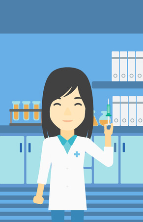 An asian female laboratory assistant holding syringe. Laboratory assistant with syringe in a laboratory. Laboratory assistant making medical test. Vector flat design illustration. Vertical layout. Illustration