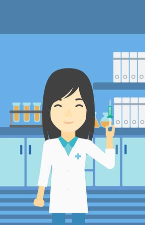Un asiático ayudante de laboratorio, sosteniendo la jeringa femenina. ayudante de laboratorio con la jeringa en un laboratorio. asistente de laboratorio haciendo prueba médica. Vector de diseño plano ilustración. disposición vertical. Vectores