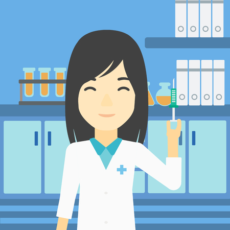 medical assistant: An asian female laboratory assistant holding syringe. Laboratory assistant with syringe in a laboratory. Laboratory assistant making medical test. Vector flat design illustration. Square layout.