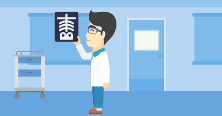 radiograph: An asian doctor examining a radiograph. Doctor looking at a chest radiograph in the medical office. Doctor observing a skeleton radiograph. Vector flat design illustration. Horizontal layout.
