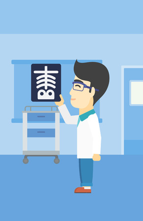 radiograph: An asian doctor examining a radiograph. Doctor looking at a chest radiograph in the medical office. Doctor observing a skeleton radiograph. Vector flat design illustration. Vertical layout.
