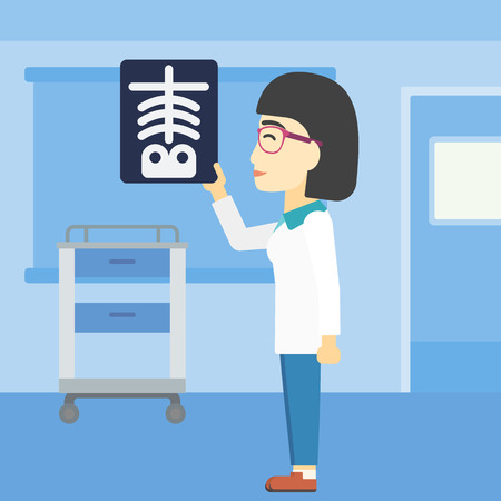 radiograph: An asian young female doctor examining a radiograph. Doctor looking at a chest radiograph in the medical office. Doctor observing a skeleton radiograph. Vector flat design illustration. Square layout. Illustration