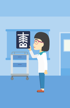 hospital ward: An asian female doctor examining a radiograph. Doctor looking at a chest radiograph in the medical office. Doctor observing a skeleton radiograph. Vector flat design illustration. Vertical layout. Illustration