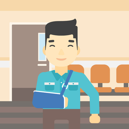 brace: An injured asian man with broken right arm in brace standing in the hospital corridor. Smiling man wearing an arm brace. Vector flat design illustration. Square layout. Illustration