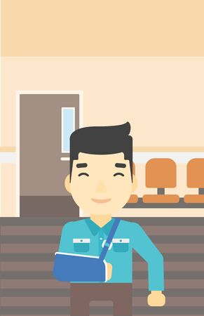An injured asian man with broken right arm in brace standing in the hospital corridor. Smiling man wearing an arm brace. Vector flat design illustration. Vertical layout.