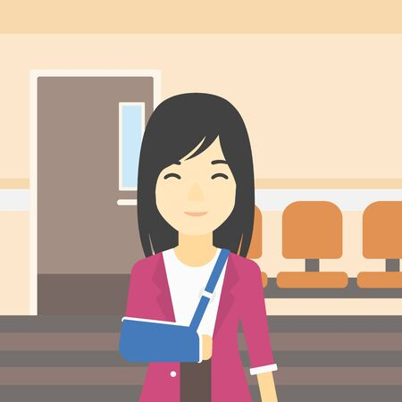 An injured asian woman with broken right arm in brace standing in the hospital corridor. Smiling woman wearing an arm brace. Vector flat design illustration. Square layout.