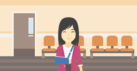 hospital corridor: An injured asian woman with broken right arm in brace standing in the hospital corridor. Smiling woman wearing an arm brace. Vector flat design illustration. Horizontal layout.
