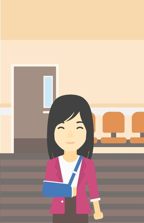 An injured asian woman with broken right arm in brace standing in the hospital corridor. Smiling woman wearing an arm brace. Vector flat design illustration. Vertical layout. Ilustração
